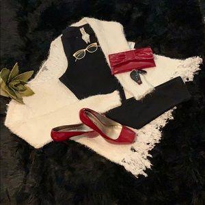 Charlotte Russe Oversized Cream Fringe Sweater XL